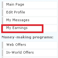 My Earning Menu